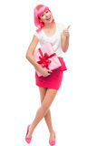 Attractive woman with gift and thumbs up Royalty Free Stock Photos