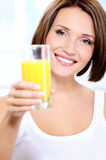 Attractive Woman with glass of  orange juice Royalty Free Stock Photo