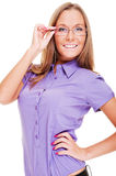 Attractive woman in glasses Royalty Free Stock Photo