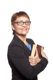 Attractive woman in glasses with a book Stock Photos