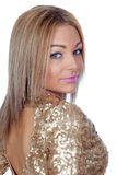 Attractive woman with a golden dress Royalty Free Stock Photo