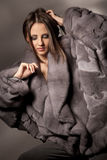 Attractive woman in gray fur coat Royalty Free Stock Photos