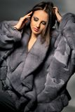 Attractive woman in gray fur coat Royalty Free Stock Image