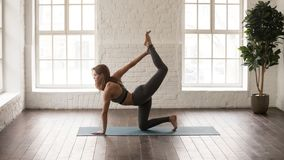 Attractive woman practicing yoga, doing tiger, bird dog exercise. Attractive woman in grey sportswear, bra and leggings practicing yoga, standing in tiger pose stock images