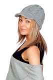 Attractive woman with a grey wool bonnet Royalty Free Stock Photo