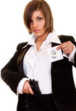 Attractive woman guarding top secret Stock Images