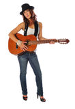Attractive woman with a guitar Royalty Free Stock Image