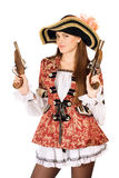 Attractive woman with guns dressed as pirates Stock Photography