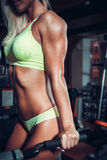 Attractive woman in gym on workout machine Royalty Free Stock Images