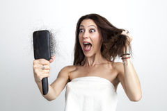 Attractive woman with hair loss Stock Images
