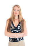 Attractive woman with hands folded. Royalty Free Stock Photo