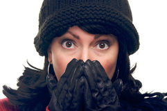 Attractive Woman with Hands to Her Face royalty free stock image