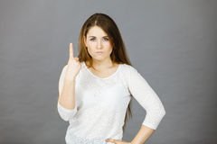 Attractive woman having angry frustrated face expression Stock Photos