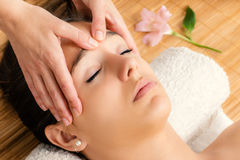 Attractive woman having facial massage. Close up portrait of attractive woman having facial massage.Therapist massaging face with hands Stock Photography
