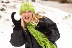 Attractive Woman Having Fun in the Snow Stock Image
