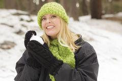 Attractive Woman Having Fun in the Snow Royalty Free Stock Photo