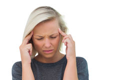 Attractive woman having a headache Stock Photos