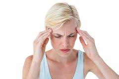 Attractive woman having headache Royalty Free Stock Photography