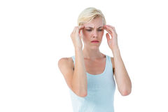 Attractive woman having headache Royalty Free Stock Image