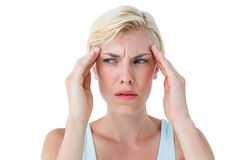 Attractive woman having headache Stock Images