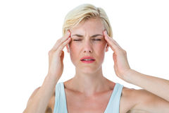 Attractive woman having headache Royalty Free Stock Images