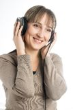 Attractive woman with headphones Royalty Free Stock Photo