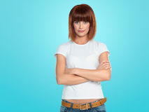 Attractive woman with her arms crossed Stock Photos