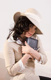 Attractive woman with her diary - retro look Stock Photos
