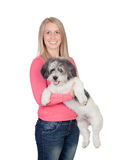Attractive woman with her dog Stock Photo