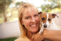 Attractive Woman and Her Jack Russell Terrier Dog Royalty Free Stock Photo