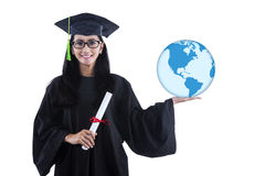 Attractive woman hold globe and certificate on white Royalty Free Stock Images