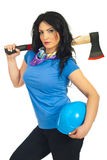 Attractive  woman holding axe Royalty Free Stock Photography