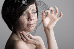 Attractive Woman Holding Black Veil Stock Photos