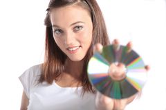 Attractive woman holding CD-Rom Royalty Free Stock Photo