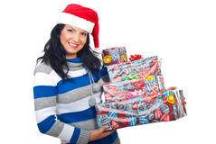 Attractive woman holding Christmas gifts Stock Photo