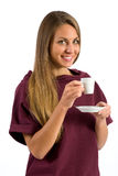 Attractive Woman Holding Cup of Coffee Stock Images