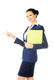 Attractive woman holding files. Isolated on white Stock Photo
