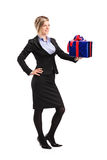 Attractive woman holding a gift Stock Photography