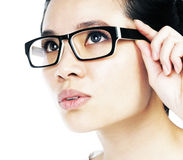 Attractive woman holding her eyeglasses Stock Photo