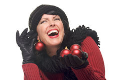 Attractive Woman Holding Red Ornaments stock images