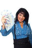 Attractive woman holding Romanian banknotes Stock Images