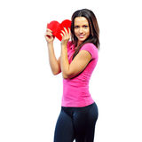 Attractive woman holding shape heart Stock Image
