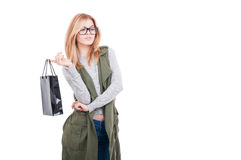Attractive woman holding shopping bag Royalty Free Stock Image