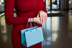 Attractive Woman holding shopping bag. Shopping time.attractive Woman holding shopping bag Royalty Free Stock Photo