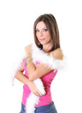Attractive woman holding a white boa Royalty Free Stock Photo