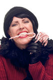 Attractive Woman Holds Candy Canes stock photography