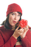 Attractive Woman Holds Gift Stock Images