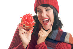 Attractive Woman Holds Gift Royalty Free Stock Photos