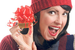 Attractive Woman Holds Gift Royalty Free Stock Photo