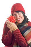 Attractive Woman Holds Gift Stock Photos